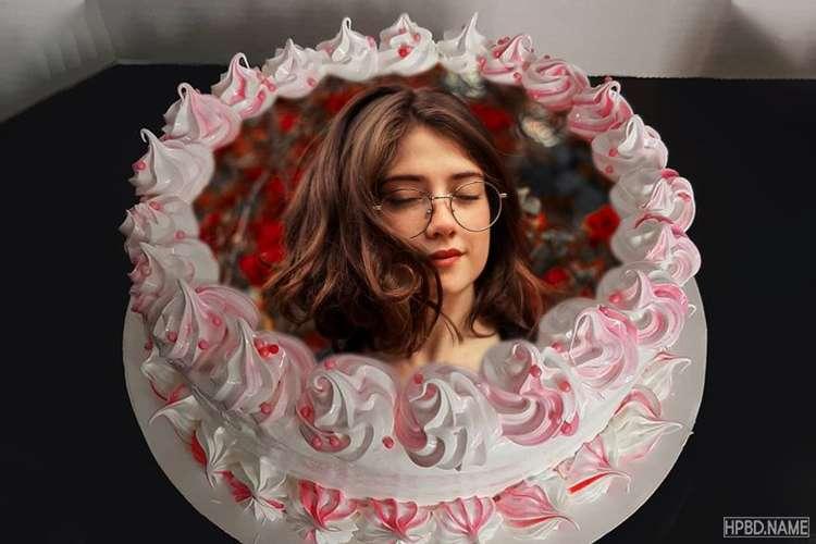 Customize Flower Ice Cream Birthday Cake With Photo Editing