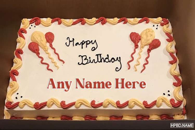 Congratulations Balloons Birthday Cake With Name