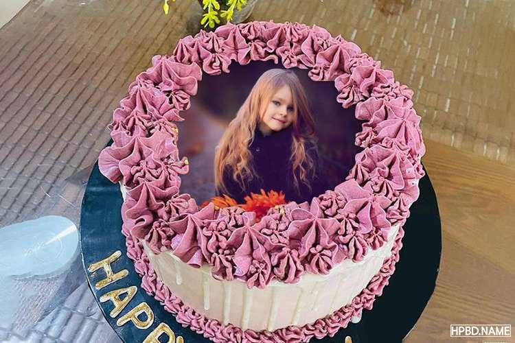 Purple Flowers Birthday Decorating Cake With Photo