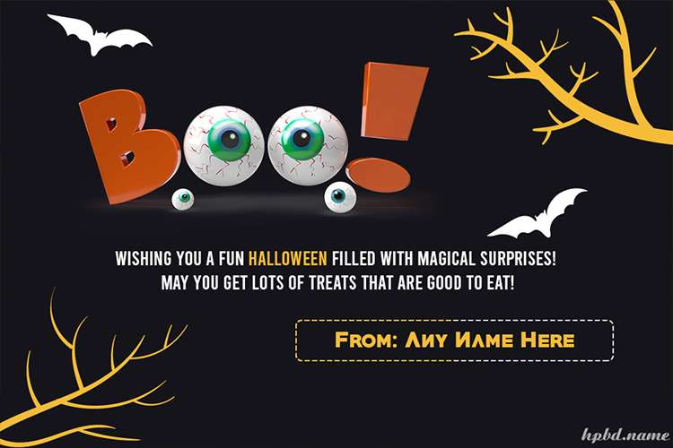 Boo Happy Halloween Scary Cards With Name Edit