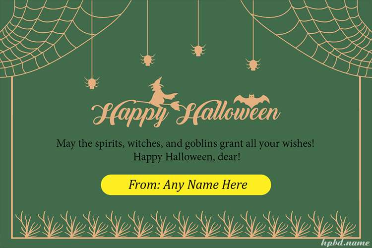Customize Scary Halloween Greeting Card With Name
