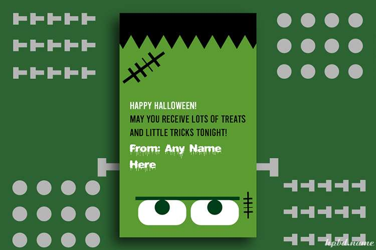 Frankenstein Halloween Decorations Card With Name Edit