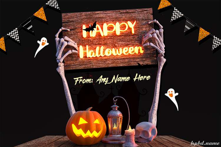 Halloween Pumpkin Card With Name Online Editing