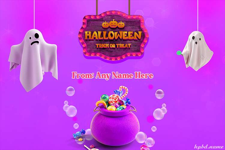 Happy Halloween Trick or Treat Cards With Name Editor