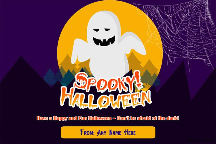 Spooky Halloween Night Wishes Card With Name