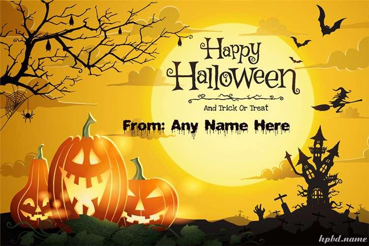 Write Name On Halloween Pumpkins Castle Spooky Night Cards