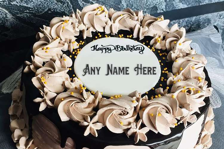 Cream Birthday Cake Design for Lover With Name Edit