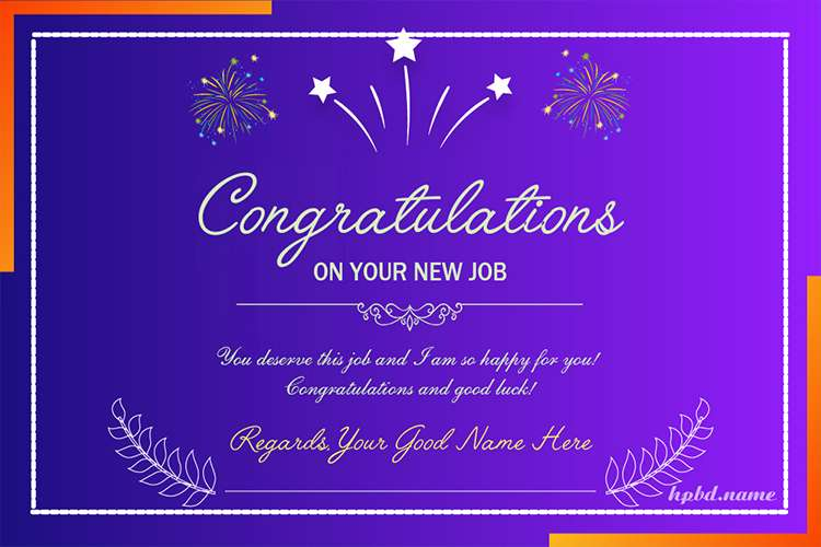Congratulations On Your New Job Card With Name