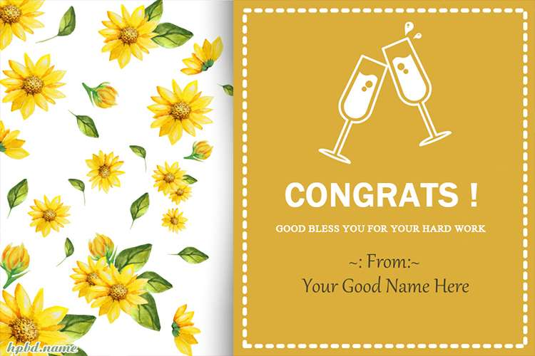 Congrats For Your Hard Work Card With Name Edit