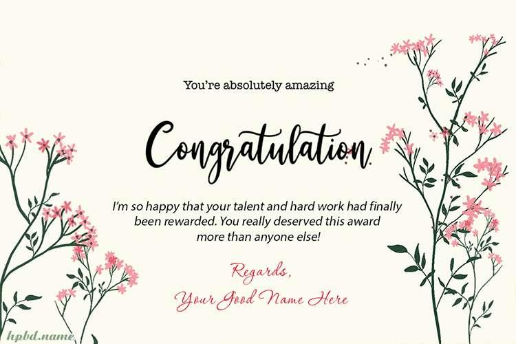 Write Name on Congratulations Card for Award