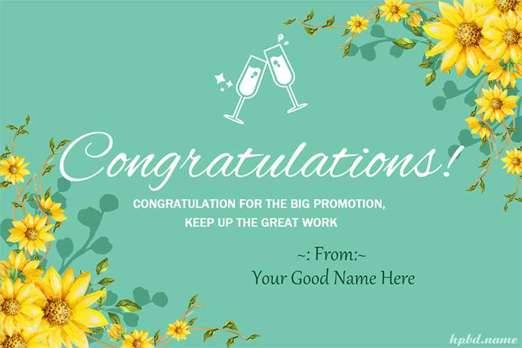 Write Name On Congratulations On Job Promotion Cards