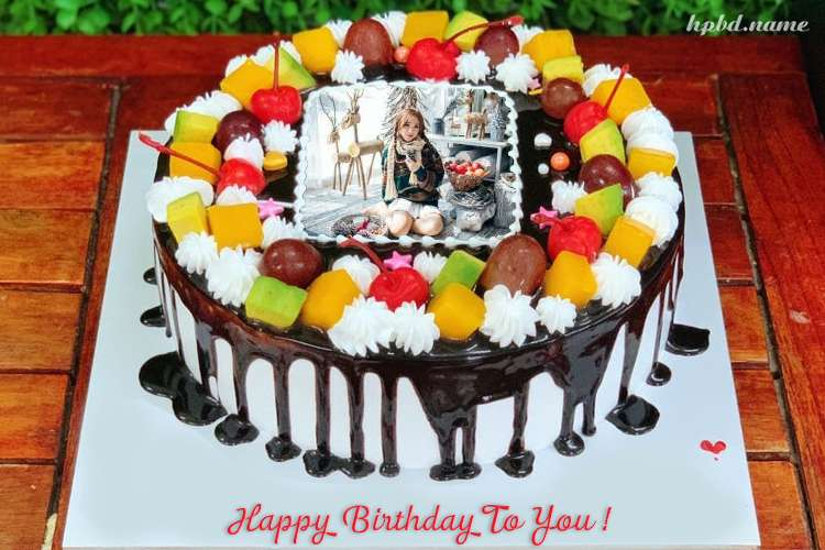Fruit Birthday Cake With Name And Photo Editor