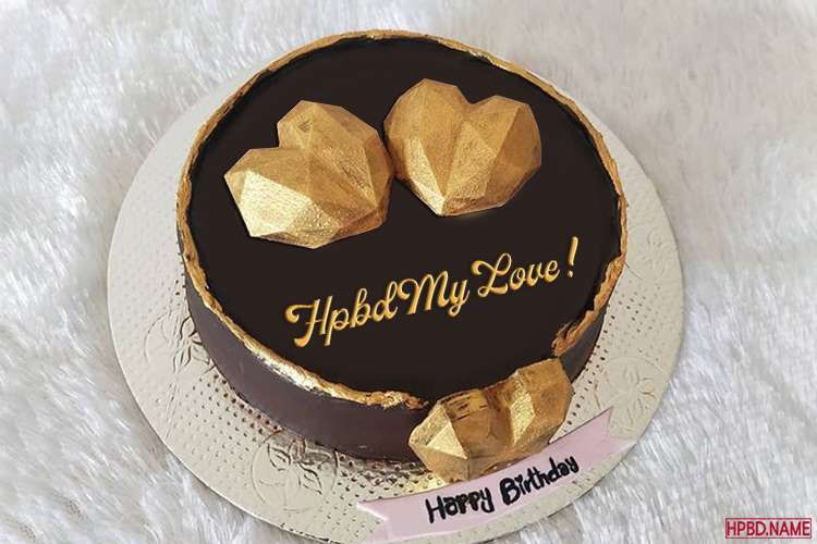 Write Your Name On Birthday Cake With Double Hearts Inlaid With Gold
