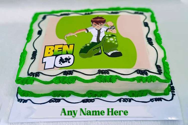 Ben 10 Cartoon Birthday Wishes Cake With Your Name